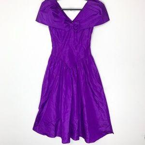 Vintage 1980s Purple Taffeta Prom Dress